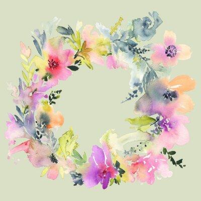 Papiers peints Carte de voeux avec des fleurs. Couleurs pastel. Fait main. La peinture à l'aquarelle. Mariage, anniversaire, fête des mères. Douche nuptiale.