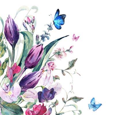 Papiers peints Carte de voeux d'aquarelle avec des petits pois, des tulipes