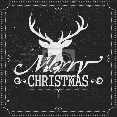 Carte de voeux de Noël avec des rennes, tableau