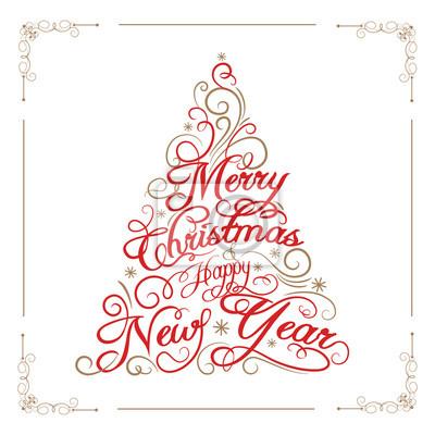 Carte de voeux Joyeux Noël et bonne année. Arbre de Noël. Illustration vectorielle