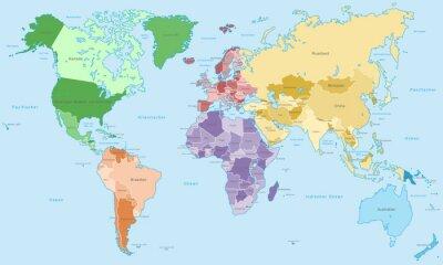 Papiers peints Carte de Weltkarte - einzelne Kontinente in Farbe (Détails)