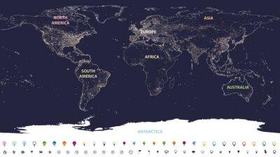 Papiers peints carte des lumières de la ville du monde avec des continents étiquetés dans différentes couleurs et des icônes de localisation