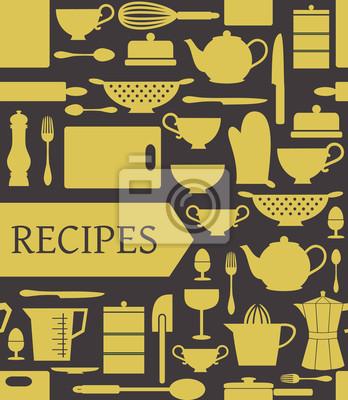 carte des recettes avec différents accessoires de cuisine et une bannière.