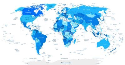 Papiers peints Carte détaillée du monde bleu