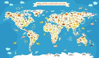 Papiers peints Carte du monde avec des animaux. Belle illustration vectorielle colorée. Préscolaire, pour bébé, enfants, enfants et tout le monde