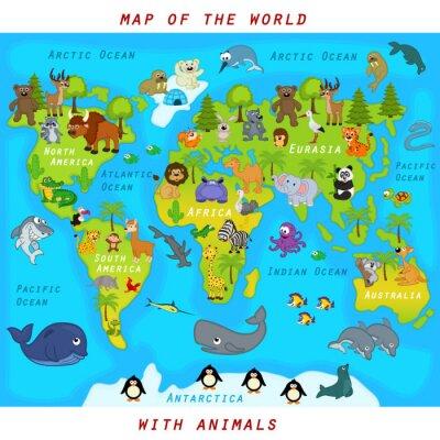 Papiers peints Carte du monde avec des animaux - illustration vectorielle, eps