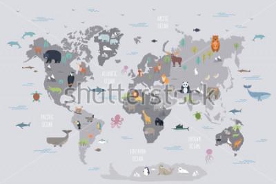 Papiers peints Carte du monde avec des animaux sauvages vivants sur divers continents et dans les océans. Mammifères de dessin animé mignon, reptiles, oiseaux, poissons habitant la planète. Illustration vectorielle