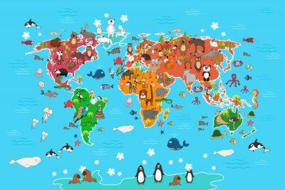 Papiers peints Carte du monde avec des animaux. Singe et hérisson, ours et kangourou, lièvre, loup, panda, pingouin et perroquet. Animaux, mondiale, carte, vecteur, Illustration, dessin animé ...