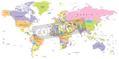 Papiers peints Carte du monde coloré - frontières, pays et villes - illustration