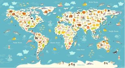Papiers peints Carte du monde des animaux. Belle illustration colorée joyeux vecteur pour les enfants et les enfants. Préscolaire, bébé, continents, océans, dessiné, la terre