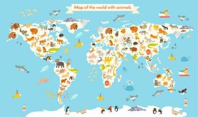 Papiers peints Carte du monde des animaux. Illustration colorée de vecteur de bande dessinée pour des enfants et des gamins. Préscolaire, éducation, bébé, continents, océans, dessiné, la terre