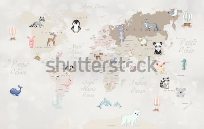 Papiers peints Carte du monde des animaux pour la conception de papier peint pour enfants