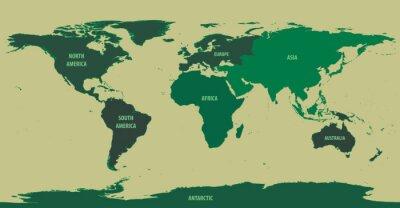Papiers peints Carte du monde Green With Continent Noms