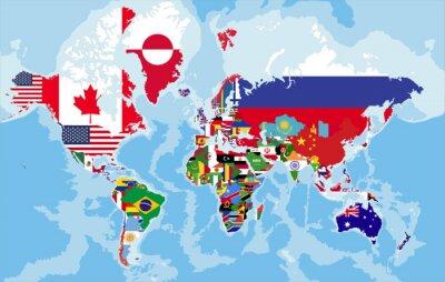 Papiers peints Carte du monde politique avec des drapeaux de pays.