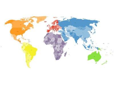 Papiers peints Carte du monde politique sur fond blanc.
