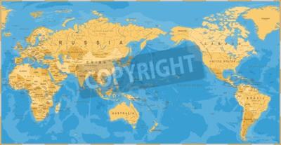 Papiers peints Carte du monde politique vintage centré sur le Pacifique - vecteur.