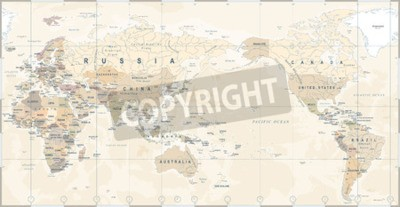 Papiers peints Carte du monde politique Vintage Pacifique centré - vecteur.