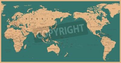 Papiers peints Carte du monde politique Vintage Pacifique centrée - vecteur