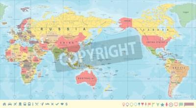 Papiers peints Carte du monde politique Vintage Pacifique centrée - vector.