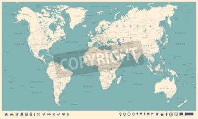Papiers peints Carte du monde vintage et marqueurs - illustration vectorielle détaillée
