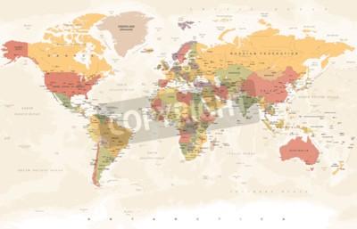Papiers peints Carte du monde vintage - illustration vectorielle détaillée