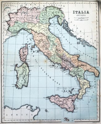 Papiers peints Carte du XIXe siècle de l'Italie romaine