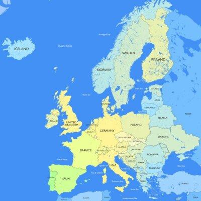 Papiers peints Carte Europe détaillée