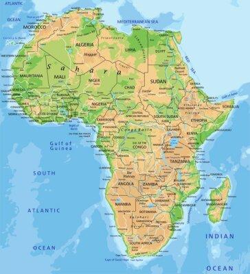 Papiers peints Carte haut Afrique détaillée physique avec l'étiquetage.