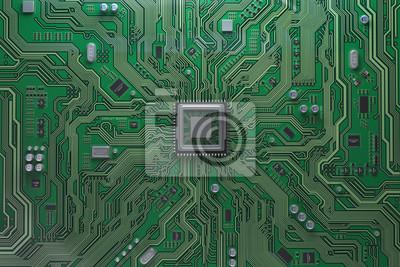 Papiers peints Carte mère d'ordinateur avec CPU. Puce de système de carte de circuit avec le processeur principal. Contexte de la technologie informatique.