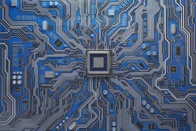 Papiers peints Carte mère d'ordinateur avec CPU. Puce du système de carte de circuit imprimé avec processeur de base. Contexte de la technologie informatique.