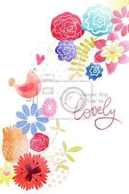 Carte mignonne avec des oiseaux et des fleurs aquarelle