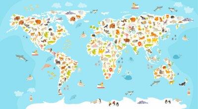 Papiers peints Carte mondiale des mammifères. Belle illustration colorée joyeux vecteur pour les enfants et les enfants. Préscolaire, bébé, continents, océans, dessiné, la terre