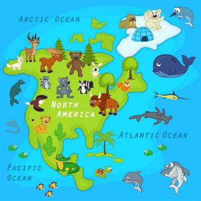 Papiers peints Carte, nord, amérique, animaux - vecteur, Illustration, EPS