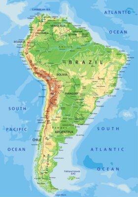 Papiers peints Carte physique détaillée haut Amérique du Sud avec l'étiquetage.