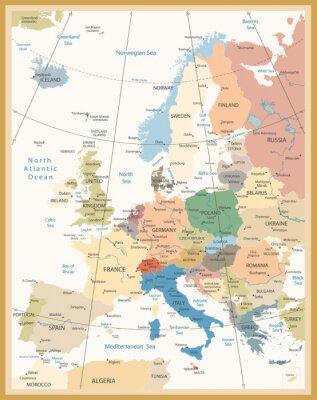 Papiers peints Carte politique de l'Europe Rétro couleurs