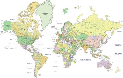 Papiers peints Carte politique très détaillée du Monde avec l'étiquetage.