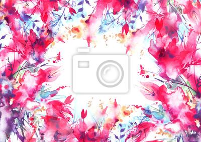 Carte postale aquarelle, invitation avec motif floral, éclaboussure papier  peint • papiers peints | myloview.fr