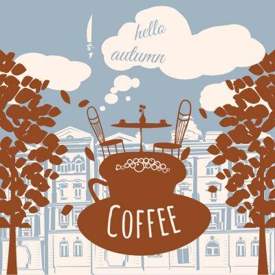 Papiers peints Carte postale Bonjour automne, café, maison, feuilles d'automne, vecteur, bannière, illustration