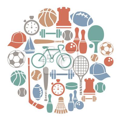 carte ronde avec des icônes du sport