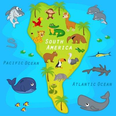 Papiers peints Carte, sud, amérique, animaux - vecteur, Illustration, EPS
