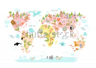 Papiers peints Carte vectorielle du monde avec des animaux de dessin animé pour les enfants. Europe, Asie, Amérique du Sud, Amérique du Nord, Australie, Afrique. Lion, crocodile, kangourou. koala, baleine, la notre,