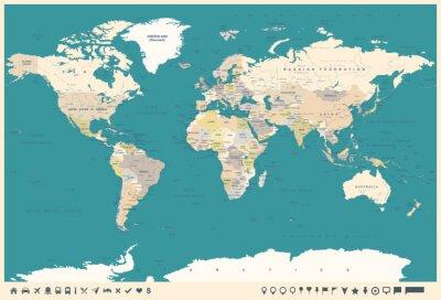 Papiers peints Carte vintage du monde et marqueurs - illustration
