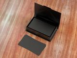 Cartes De Visite Noires Contact Dans La Bote Carton Ouverte Nettoyez Le Modle