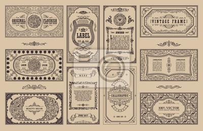 Papiers peints Cartes rétro rétro vintage. Invitation de mariage de carte de voeux de modèle. Ligne de cadres calligraphiques