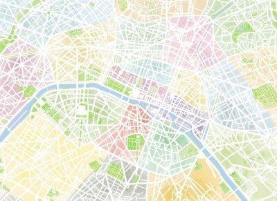 Papiers peints Cartina Parigi, disegnata à la main, pennellate, strade e vie, Francia