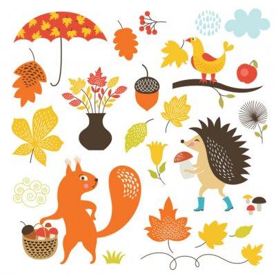 Papiers peints Cartoon animaux et des éléments d'automne, vector set