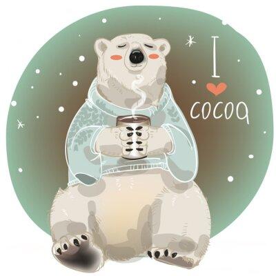 Papiers peints Cartoon ours blanc avec une tasse de boisson chaude