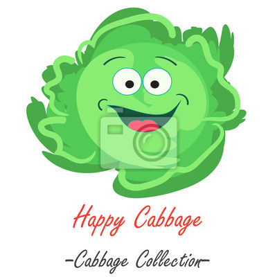 Cartoon savoy cabbage funny character, isolated on white