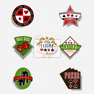 Casino et jeu des étiquettes et des symboles