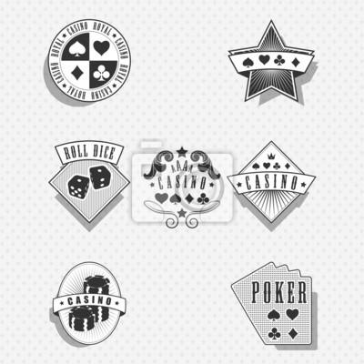 Casino et jeu des étiquettes et des symboles - monochrome